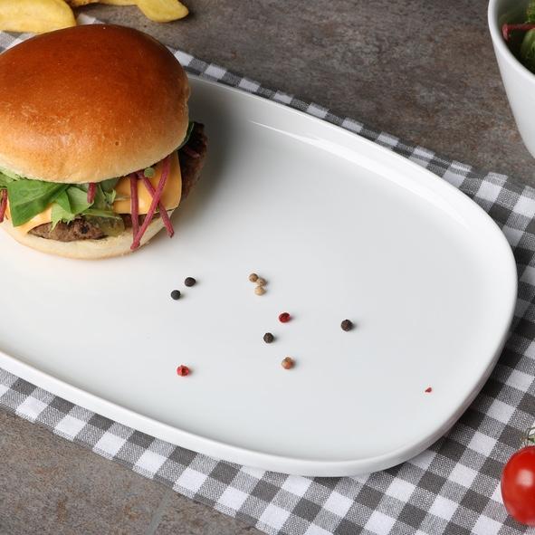 Burgerplatte 30 cm rechteckig, weiß, hoher Rand