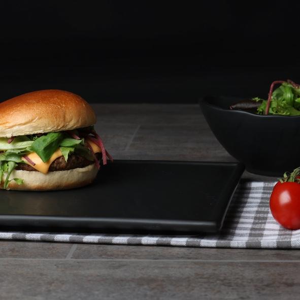 """Burgerteller schwarz 26 x 26 cm """"Schieferdesign"""""""