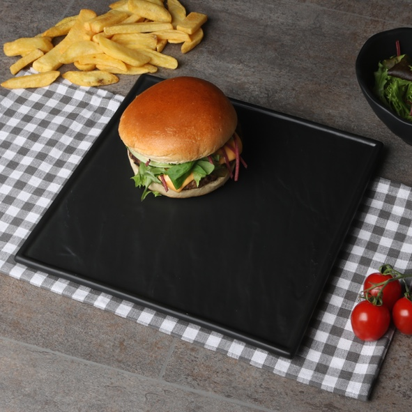 Burger plate black 26 cm ''Slate Design''