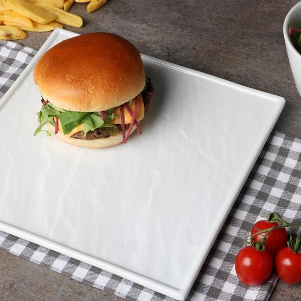 Burgerteller weiß 26 x 26 cm Schieferoptik (**)