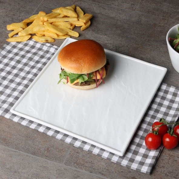 Burgerplate white 26 x 26 cm ''Slate Design'' (**)