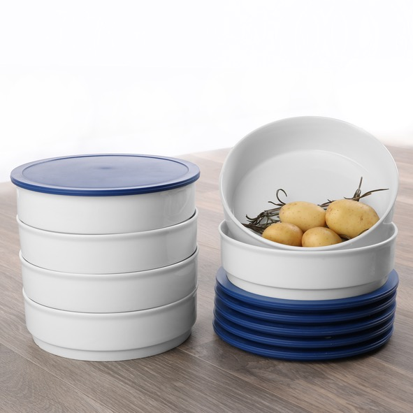 Round bowl ''Hospital'' 17,5 cm with lid blue