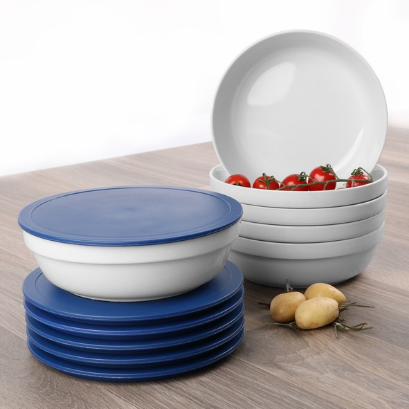 Round bowl with lid blue, stackable