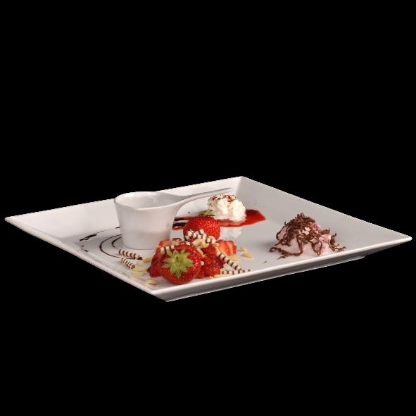 """Erdbeer-Servierset """"Royal"""" 2-tlg. 30 x 30 cm"""