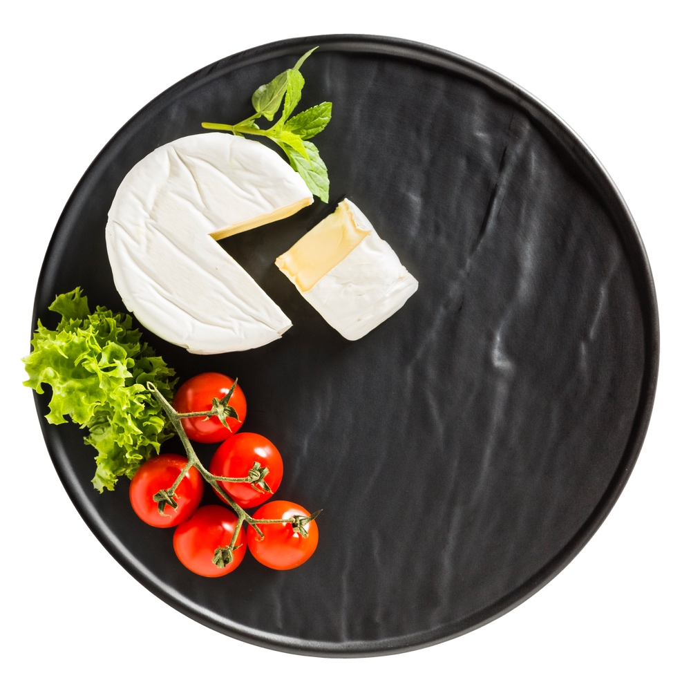 Porzellanplatte Schieferdesign matt schwarz 25 cm rund