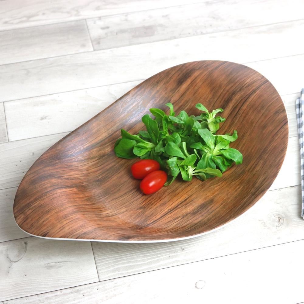 "Platte 38 x 24 cm halbtief ""Holz Optik"""