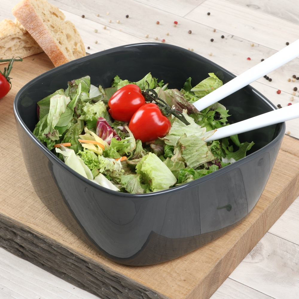 Salatschüssel eckig 25,5 cm grau