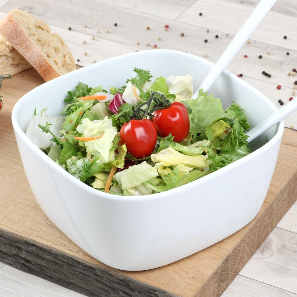 Salatschüssel eckig 25,5 cm weiß
