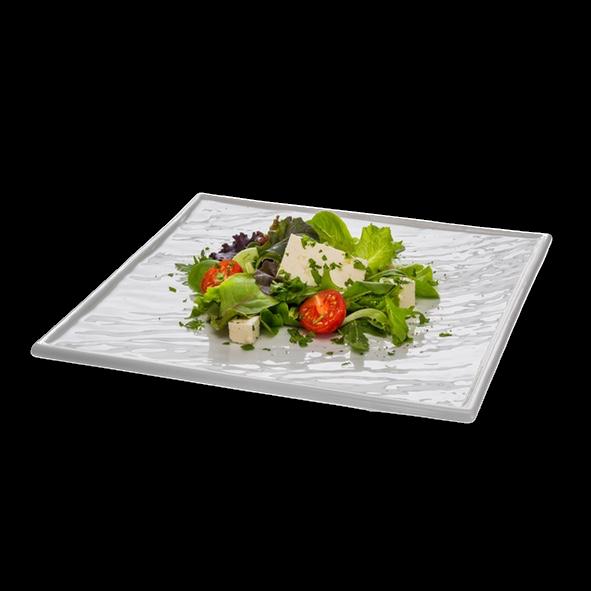 """Porzellanplatte 26 x 26 cm """"Schieferdesign"""" weiß (**)"""