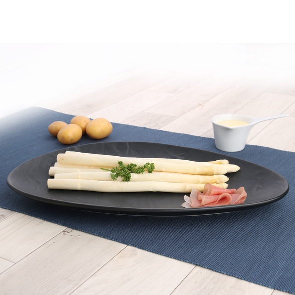 Plate for asparagus in slate optic black 36x23 cm
