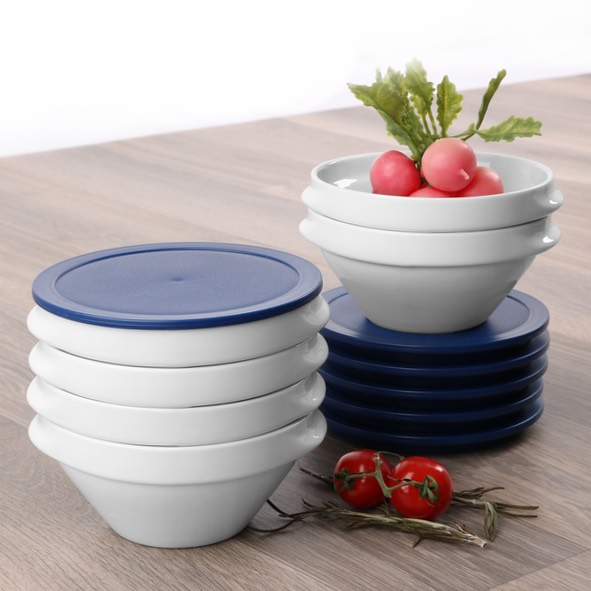 Bowl for soup & stew with lid blue