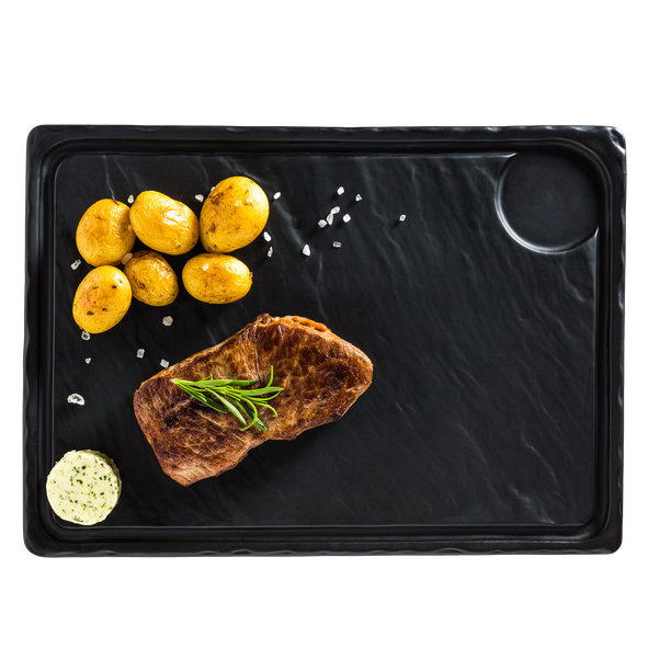 Porcelain Plate in slate design black 33 x 24 cm