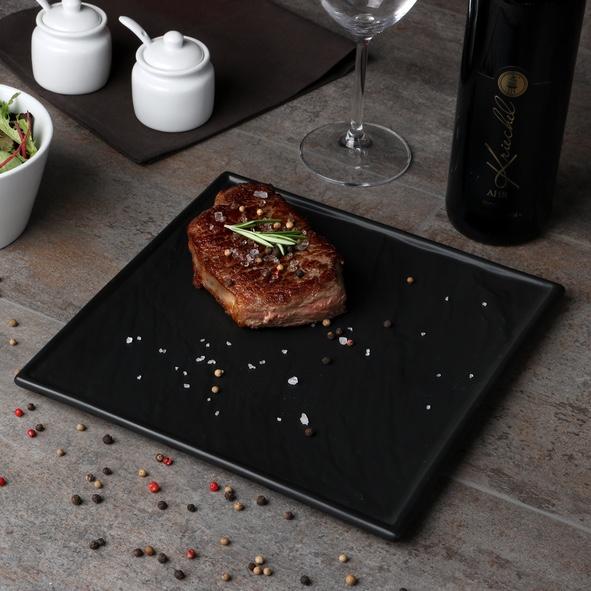 """Steakplatte schwarz 26 x 26 cm """"Schieferdesign"""""""
