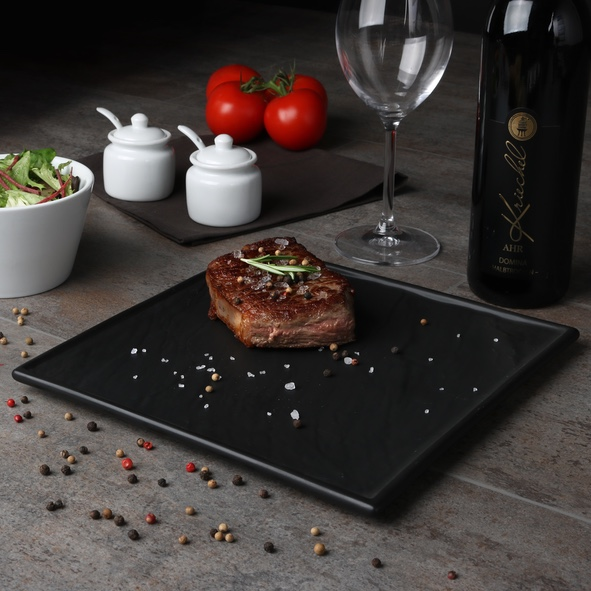 Steak plate black 26 x 26 cm ''Slate Design''