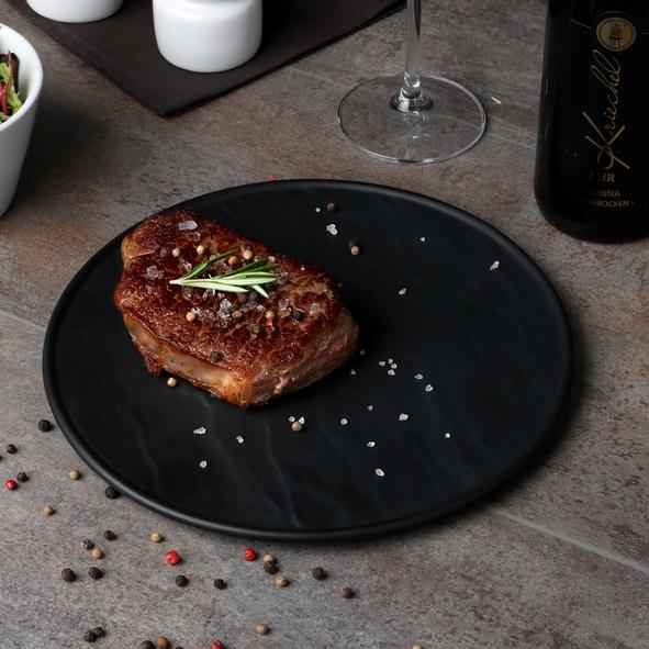 """Steakplatte rund schwarz 25 cm """"Schieferdesign"""""""