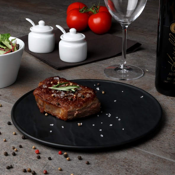 Steak plate round black 25 cm ''Slate Design''