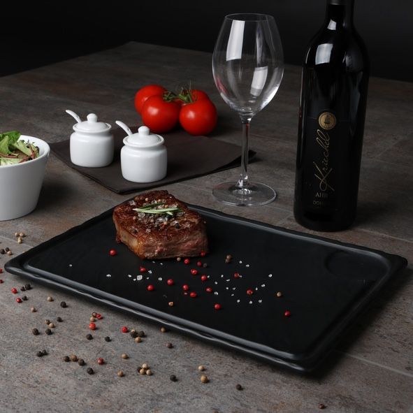 Steak plate in slate design black 33 x 24 cm