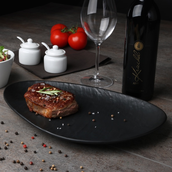 Steak plate black 36 x 23 cm ''Slate Design''