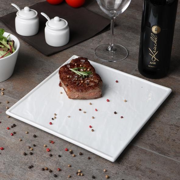 Steakplatte weiß 26 x 26 cm Schieferoptik (**)