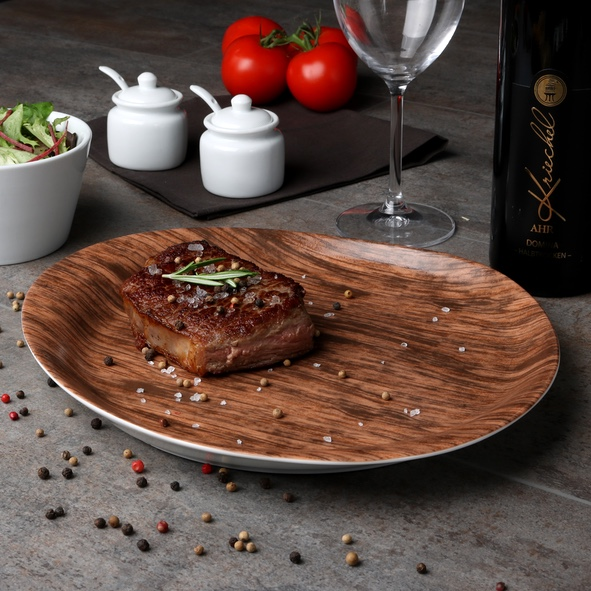 Steak plate 31 x 27 cm ''Wood Design''