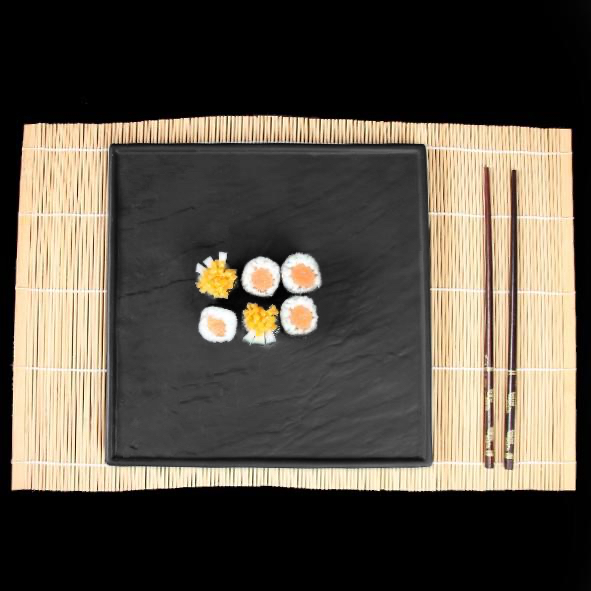 Porcelain Plate in slate design black 26 x 26 cm