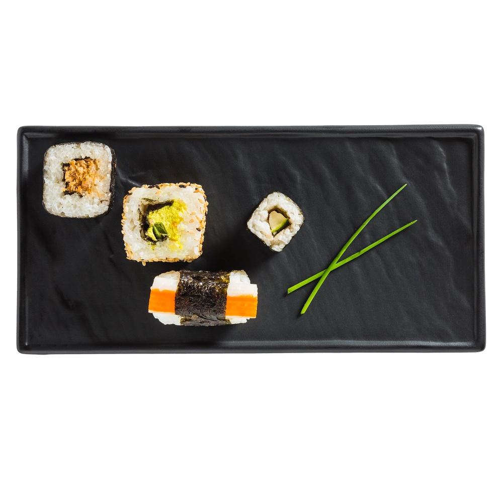 Sushi Teller schwarz 26 x 12 cm Schieferoptik