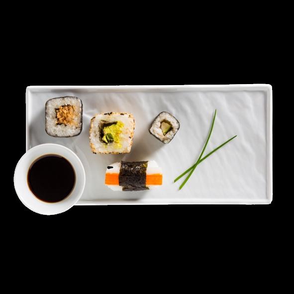 """Sushi Teller 26 x 12 cm """"Schieferdesign"""" weiß (**)"""