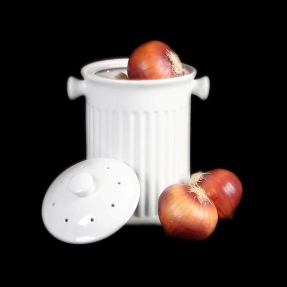 Zwiebeltopf & Gemüsebehälter mit Lochdeckel (**)