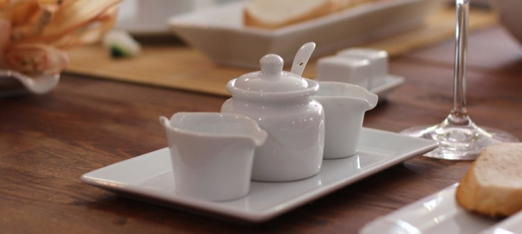 White porcelain tableware accessories from Holst Porzellan Germany.