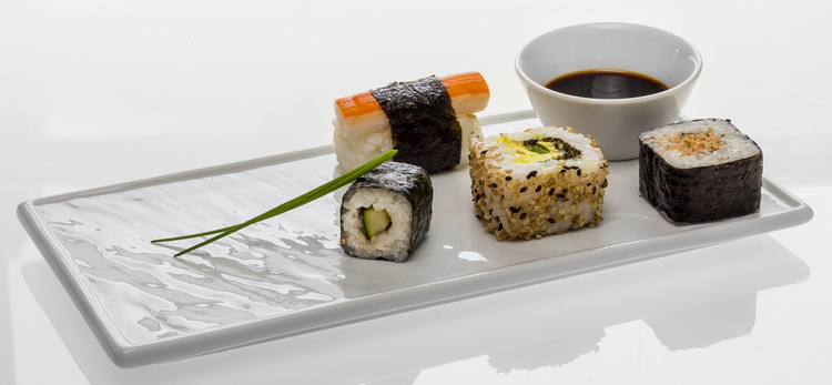 Serve sushi appealingly on white porcelain!