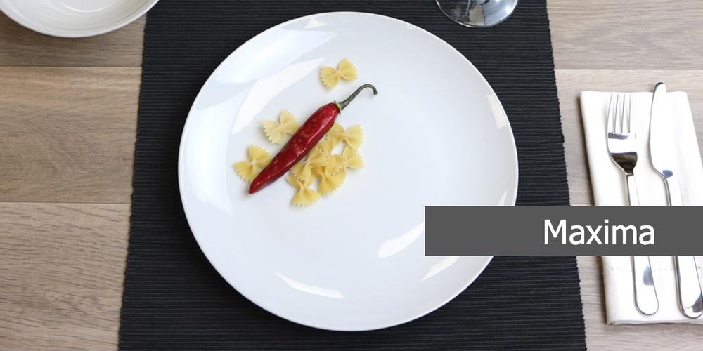 Geschirrserie Maxima aus hochwertigem High Alumina Porzellan